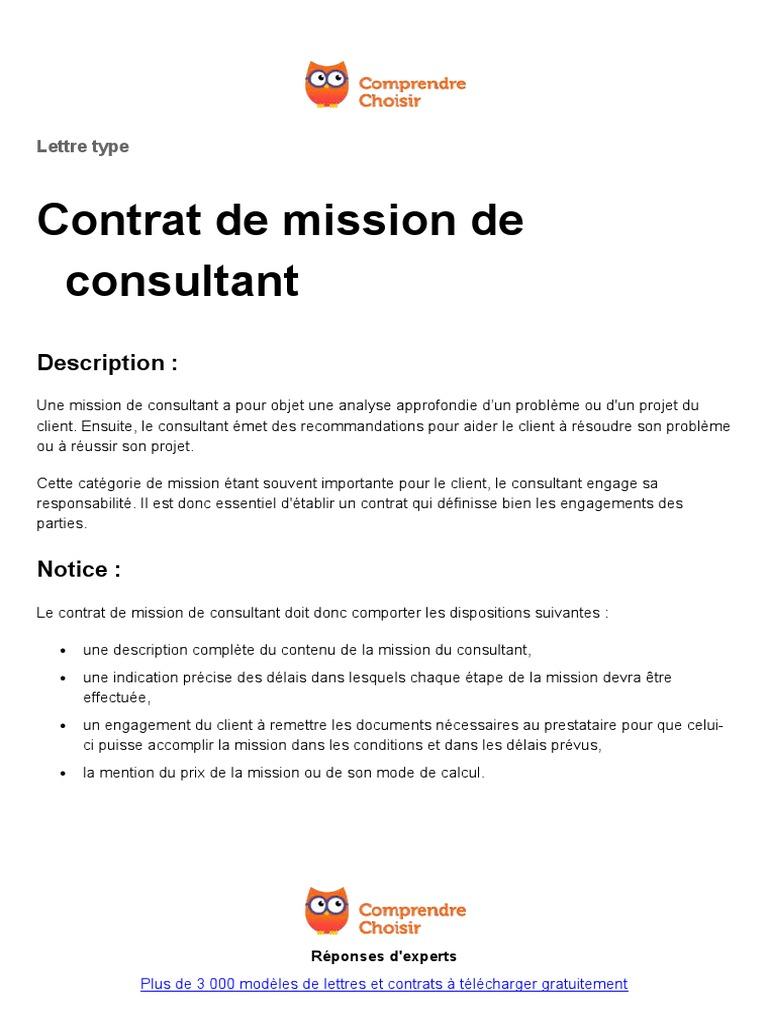 Contrat De Mission De Consultant 1 Consultant Justice