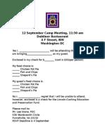 Reservation Form Sept 15 Meeting