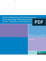 Factors Determining the Performance of Early Stage High-Technology Venture Capital Funds – A Review of the Academic Literature