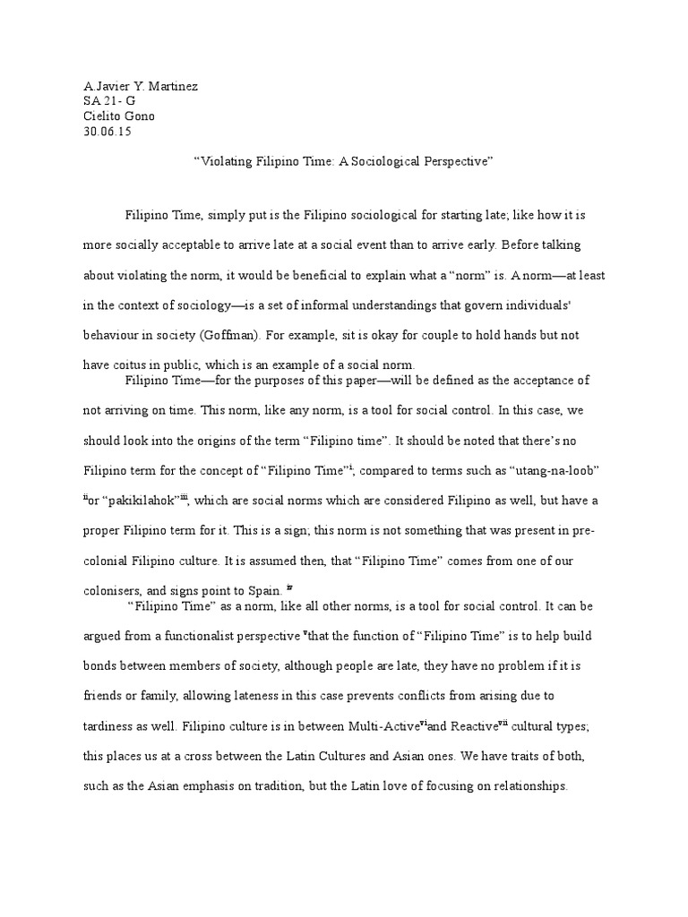 a paper on filipino time norm social