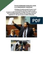 Congresista Elías Rodríguez Zavaleta presentó Proyecto Ley que incorpora al Código Penal el delito de Sicariato. Posteriormente el Ejecutivo lo promulgó mediante Decreto Legislativo N° 1181.