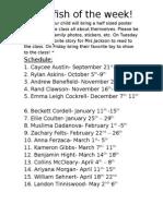 Jellyfish of the Week Schedule 2015