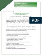 Primeracircular - IV Congreso Internacional Cuestiones Críticas - Rosario Argentina - Octubre 2015