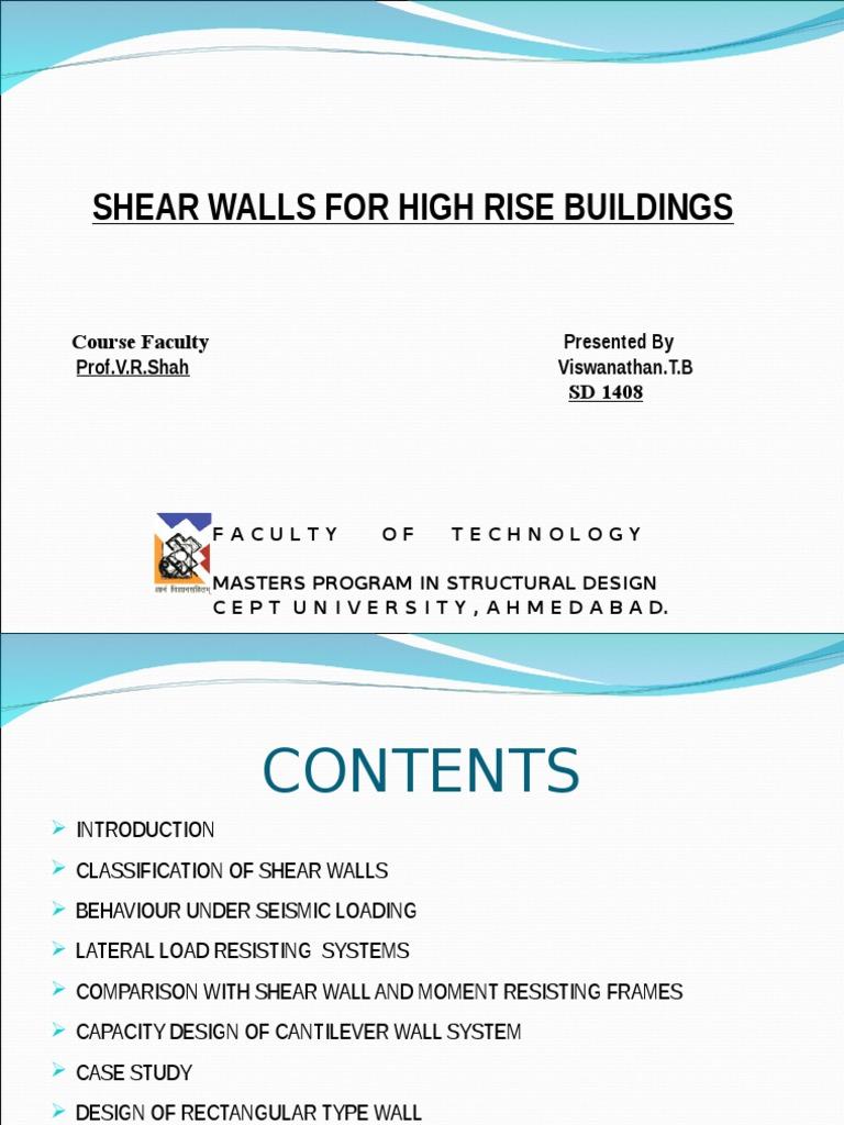 SHEAR WALLS FOR HIGH RISE BUILDINGS [www ebmfiles com] ppt | Bending
