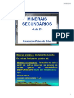 Aula 27 28 Minerais Secundários