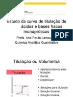 Estudo Da Curva de Titulação Para Ácido-base Fracos Mono