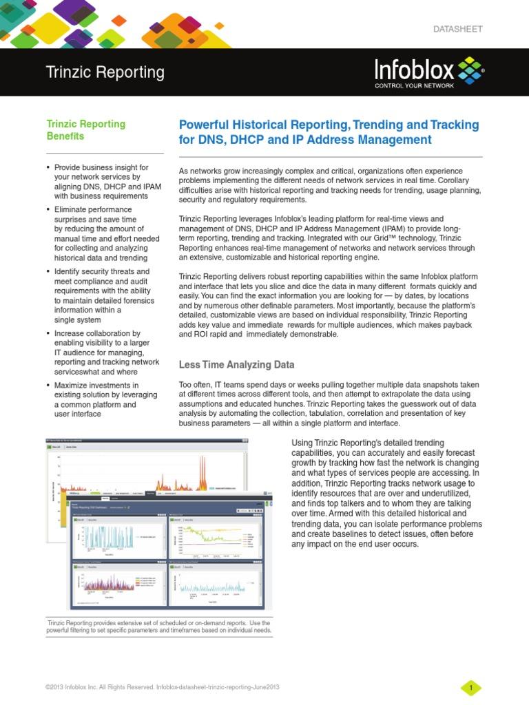 Infoblox Datasheet - Trinzic Reporting pdf | Domain Name