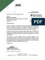Respuesta de MinJusticia a la Representante Ana Paola Agudelo caso colombianos presos en China 6 agosto 2015