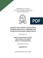 Propuesta Para El Dise%C3%B1o y Construcci%C3%B3n de Pavimentos Unicapa de Alto Desempe%C3%B1o Como Alternativa de Aplicaci%C3%B3n a Caminos Rurales
