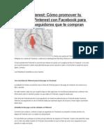 Cómo Promover Tu Cuenta de Pinterest Con Facebook
