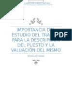 importancia del estudio del trabajo para la descripción del puesto y la valuación del mismo.docx