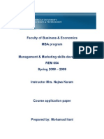 Course Application Paper - Rev.0 - Management and Marketing