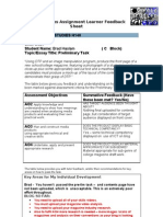 Media Studies Assignment Learner Feedback Sheet OCR