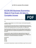 ECON 545 Business Economics Week 8 Final Exam All Sets A+ Complete Answer