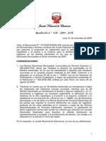Resolución N.° 630-2009-JNE-aplicación cifra-repartidora