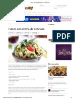 Fideos Con Crema de Espinaca - El Gran Chef