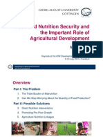 Food and Nutrition Security and the Important Role of Agricultural Development