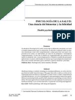 Psicología de Salud. Una ciencia del bienestar y la felicidad