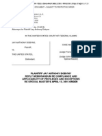PLAINTIFF JAY ANTHONY DOBYNS' REPLY MEMORANDUM RE COMPLIANCE AND APPLICABILITY OF PRIVILEGES AND EXCEPTIONS RE SPECIAL MASTER 'S APRIL 13, 2015 ORDER
