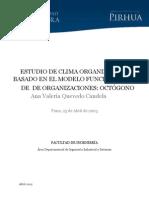 Estudio Del Clima Organizacional Basado en El Modelo Funcionamiento de Organizaciones