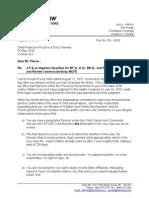 Letter to Bob Plecas