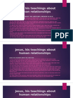 Jesus, His Teachings About Human Relationships