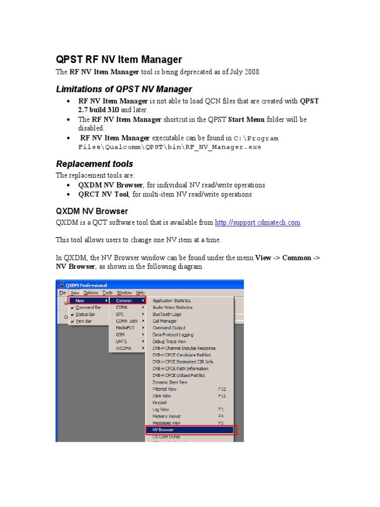 Qpst Rf Nv Item Manager