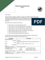 4th grade parent letter unit 1