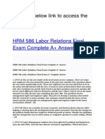HRM 586 Labor Relations Final Exam Complete Answer