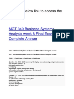 MGT 340 Business Systems Analysis Week 8 Final Exam