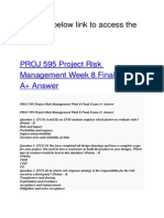 PROJ 595 Project Risk Management Week 8 Final Exam