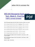 MIS 535 Managerial Appls of Info Tech Week 8 Final Exam