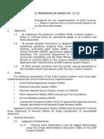Customs Memorandum Order No 13-10