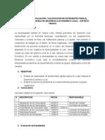 Bases Para La Evaluacion y Calificacion de Expedientes Para El Puesto de Responsable de Desarrollo Economico Local