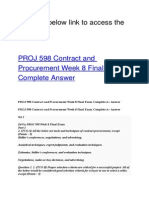 PROJ 598 Contract and Procurement Week 8 Final Exam