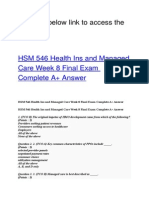 HSM 546 Health Ins and Managed Care Week 8 Final Exam