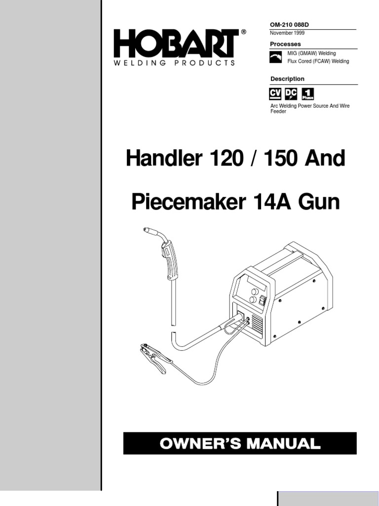 Hobart Handler 120 / 150 Welder Manual | Welding | Electrical Wiring
