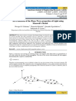 An Evaluation of the Plane Wave properties of Light using Maxwell's Model