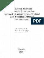 Sfântul Maxim Arzătorul de Colibe Isihast Și Văzător Cu Duhul Din Sfântul Munte (Cca 1280-1375)