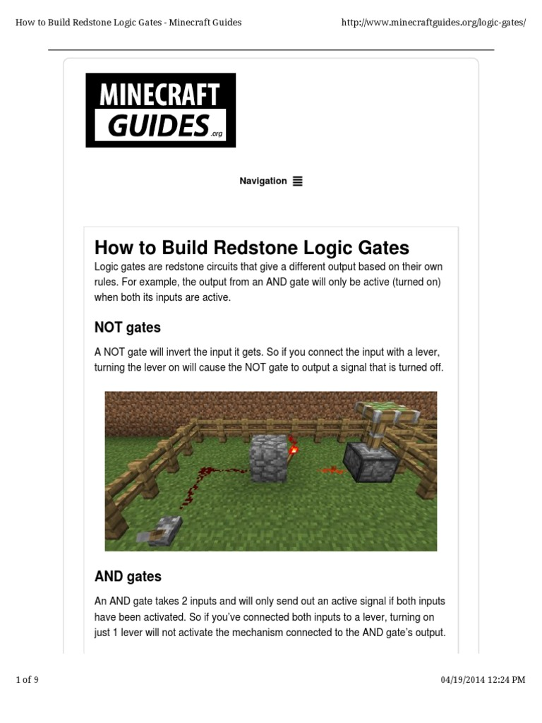 Gates And How To Build Them Logic Gate Mathematical Minecraft Monostable Circuit