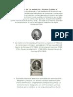 Historia de La Nomenclatura en Quimica