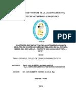 Factores Que Influyen en La Automedicacion en Adultos de Cuatro Centros Poblados de La Cuenca Med