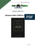 Marcuse, Herbert - Ensayos Sobre Politica Y Cultura