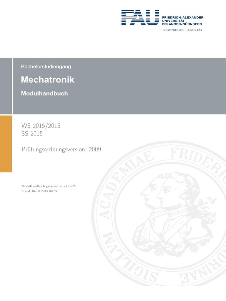 Modulhandbuch Mechatronik (Bachelor of Science)