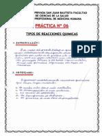 PRÁCTICA N°6:TIPOS DE REACCIONES QUÍMICAS