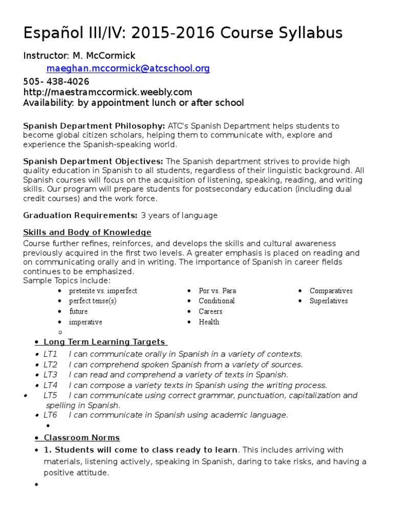 Atc Spanish Iii Syllabus Mccormick 2015 Homework Spanish Language