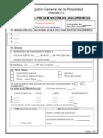 Boleta de Presentacion de Documentos al Registro de la Propiedad Guatemala