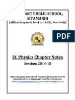 Doc 91 B.P.S. IX Physics Chapter Notes 2014 15