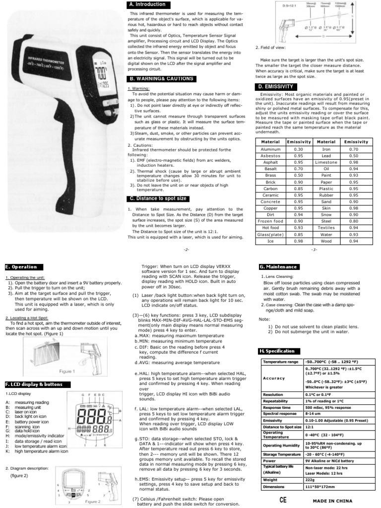 700-En-00 Infrared Thermometer Instruction Manual