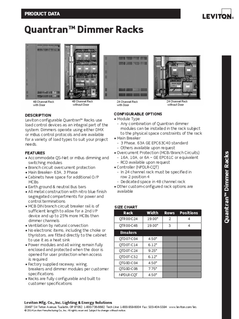 Data Sheet - Quantran Dimmer Racks | Electrical Wiring | Electric Power